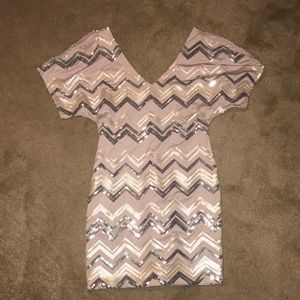 Dresses & Skirts - Pale Pink Sequined Mini Dress